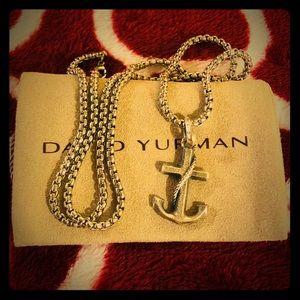 """David Yurman Anchor Pendant + 22"""" Non DY Box Chain"""